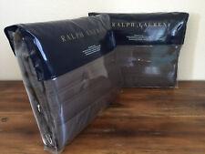 2 Ralph Lauren Reed Metropolitan Gray European Euro Pillow Shams Pair
