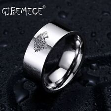Stainless Steel ring Game of Thrones ice wolf House Stark of Winterfell men ring