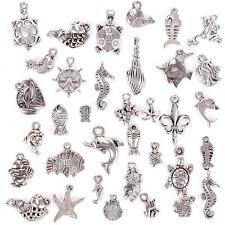 100Pcs Fashion Tibetan Silver Mixed Sea Animals Charm Pendants DIY Jewelry #1