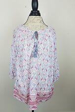 CASLON Women's 3/4 Sleeve Cotton Blouse. Medium. White/Pink/Peach/Blue Paisley