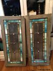 Pair of Antique Stained Glass Panels Use as Windows, Doors, Wall Art~ Slag Glass