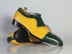 Handmade Men's Leather Lace Up Shoes, Men Yellow Green Cap Toe Dress Formal Shoe