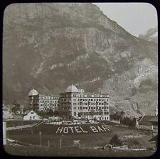 Glass Magic Lantern Slide HOTEL BAR GRINDELWALD C1890 PHOTO SWITZERLAND