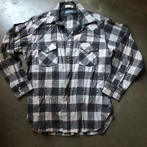 Mens Vintage Pendleton High Grade Western Wear Flannel Pearl Snap Button Up Sz L