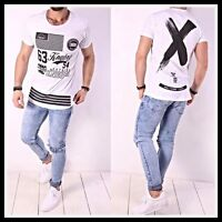 678359a01109c1 Oversize T-Shirt X Schwarz Weiß Herren Kingz Design Style Luxus Long Neu XS-