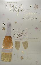 Wife Golden 50th Wedding Anniversary Card