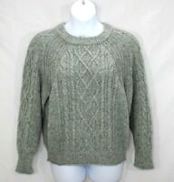 J Crew Pullover Sweater Women's Size Large Chunky Cable Knit Wool Blend Gray
