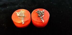 Custom Ear Plugs Flesh Tunnels  kawaii silver tattoo machine guns red 20mm