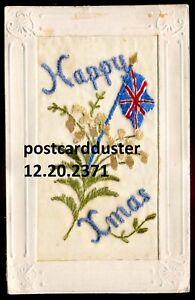 2371 - CHRISTMAS Postcard 1910s Patriotic British Flag Embroidered Silk