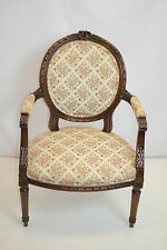 Louis XVI Fauteuil  Armchair with Finely Carved Frame, Ribbon Crest, c.1920's