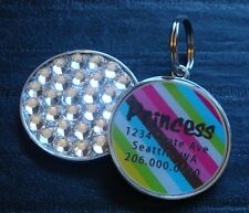 Retro Stripe Pet Id Tag Dog Cat Tag Collar Rhinestone