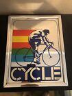 RARE Vintage Intercraft Industries Cycle Cycling Decorative Mirror Art 11 x 14