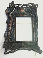 Vintage Picture Frame Iron  Art Nouveau Style Copper Wash Girl