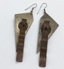 Vintage Earrings Sculptural Dangle Silver Tone