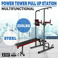 Power Tower Dip Station With Bench Bar Adjustable Pull Up Gym Workout Station