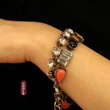 Bracelet Two Row Orange Retro Amber Black Original Evening Marriage Gift CT2