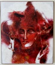 Alexander Grechanik (1955- ) original surreal painting Woman in Red FUN ART