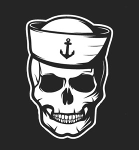 Sailor Skull with Hat - 1072 - Vinyl Sticker / Decal - Custom Made to Order