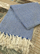 ❤️Soft Cotton Fringed Throw INDIGO BLUE & Beige Herringbone 125cm x 150cm Small