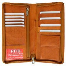 RFID Security Safe Leather Travel Wallet Passport Airline Ticket Check Case Tan