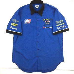 Ama Superbike Lucky 7 Racing Shirt Suzuki All Over Logo Pit Crew Mechanic Dice L