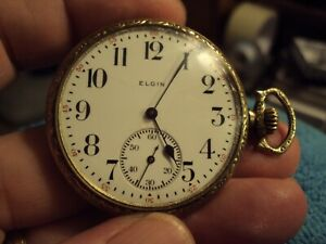 ANTIQUE 1914 SIDE-WIND ELGIN 12S GP COIN EDGE POCKET WATCH 15J RUNNING STRONG