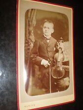 Cdv old photograph boy with violin by Marius Paris France c1890s