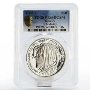 Jamaica 50 dollars 50th birth of Bob Marley PR-69 PCGS proof silver coin 1995