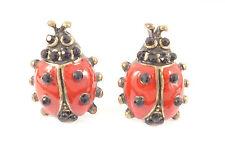 Ladybird Ladybug Red Black Insect Stud Earrings