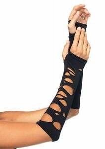 Black Distressed Arm Warmers, Fingerless Gloves, Emo Gothic, Halloween Accessory