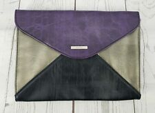 NWT Kenneth Cole REACTION French Envelope Flap Purse Purple SIlver Black Clutch