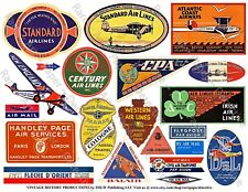 AIRPLANE LUGGAGE STICKERS & Air Mail Labels, 1 Sheet, 21 Travel REPRODUCTIONS