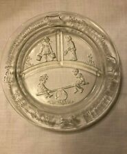 """Child's Clear Glass Divided Plate w/ Nursery Rhymes ~ 8.5"""" ~ See-Saw Margery Daw"""