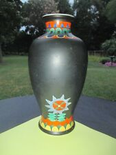 "9.5""  KINKOZAN JAPAN ART POTTERY VASE ART DECO TANGO PERIOD BLACK & ORANGE"