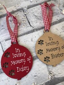 Personalised Christmas Tree Decoration Bauble Pet In Memory Of Paw Print Dog Cat