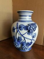 """HAND PAINTED BLUE & WHITE GLAZED POTTERY VASE Applied Grapes 10"""" TALL"""