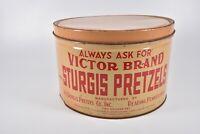 Vintage Pretzel Tin Victor Brand Sturgis Pretzel Co. Reading PA Always Ask For