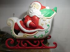 "Vtg 36"" Grand Venture Santa Claus Presents Sleigh Christmas Blow Mold Yard Decor"