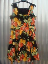 DOROTHY PERKINS Black 1950's/Rockabilly Style Dress Fruit Design Size 14