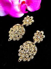 VTG SIGNED CINER GOLDTONE CRYSTAL RHINESTONE ROPE FILAGREE DANGLE CLIP EARRINGS