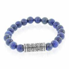 "Fashion Alloy Blue Gold-Toned Beads Filigree Charm Mens Stretch Bracelet, 8"""