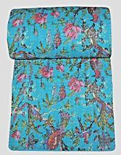 Vintage Patchwork Bird Kantha Quilt Handmade Cotton King Bedspread Throw Blanket