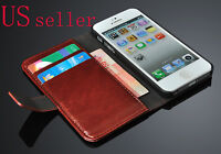 New Brown Luxury Real Leather Flip Wallet Case Cover Pouch For Apple iPhone 5 5S