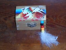 PINE RIDGE SD VINTAGE BUFFALO SIOUX INDIAN ART HAND PAINTED WOOD BOX SO. DAKOTA