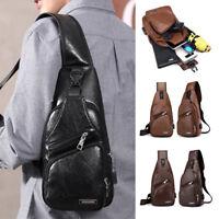 Men's Leather Sling Pack Chest Shoulder Crossbody Bag Backpack Biker Satchel USA