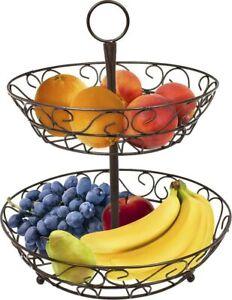2-Tier Decorative Banana & Fruit Basket Bowl - Kitchen Countertop Storage Basket