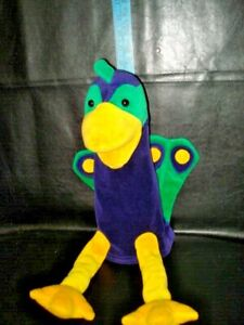 "Vintage The Manhattan Toy CO. 1995 peacock  Puppet 21"" LONG, PURPLE GREEN YELLOW"