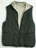 Canyon Creek Black Vest Faux Fur Lining - SOFT Womens Size M Zip-Up