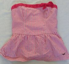 LADIES HOLLISTER PINK & WHITE STRIPED STRAPLESS SUN TOP - SIZE S SMALL