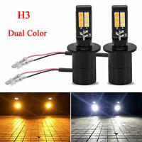 2x H3 LED 6000K COB Bulb White Yellow Fog Driving Light DRL Lamp Dual Color 12V